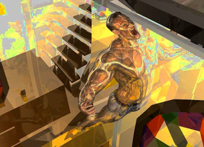 a shiny structure.a shiny man is -29 feet above the structure.the man is facing north.a yellow light is above the man.