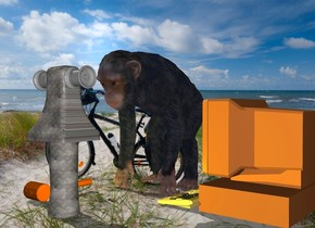 a log.a winch is above the log.the log is metal.the winch's base is metal.a primate is 12 inches behind the log.a big computer is right of the primate.it is facing the primate.a yellow light is in front of the primate.a big tool is left of the primate.it is -12 inches in front of the primate.the tool is face down.