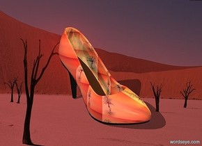 a 120 inch tall shiny shoe.the shoe is 45 inch wide [fantasy].camera light is gray.sun is maroon.a 400 inch tall orange illuminator