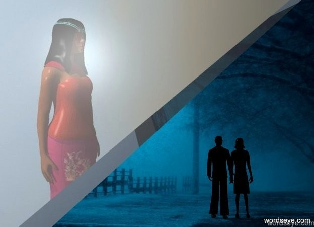 Input text: The  [scene]  backdrop.  a small black man faces back. his suit is black. his shirt is black. a 2.9 foot tall black woman faces back. she is -.2 foot right of the man. her hair is black. shadow plane is visible. camera light is black.