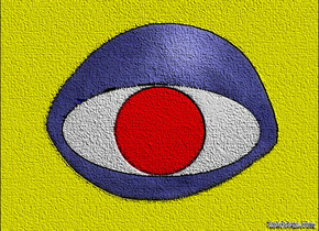 a 100 inch tall flat blue eye.sky is yellow.ground is invisible.a 1st 110 inch wide and 52 inch deep and 3 inch tall white disk is -85 inch above the eye.the 1st disk leans 90 degrees to the front.a 2nd 50 inch wide and 1 inch tall red disk is -51 inch above the 1st disk.the 2nd disk leans 90 degrees to the front.the 2nd disk is in front of the 1st disk.