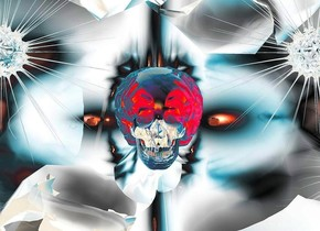 a silver symbol.the symbol is 50 feet deep.the symbol is 20 feet wide.the symbol is 25 feet tall.a large skull is -13 feet above the symbol.the skull's brain is shiny peach.a humongous clear cloud is behind the skull.a peach light is 2 feet right of the skull.a peach light is 2 feet left of the skull.a 1st clear sun symbol is right of the skull.a 2nd clear sun symbol is left of the skull.