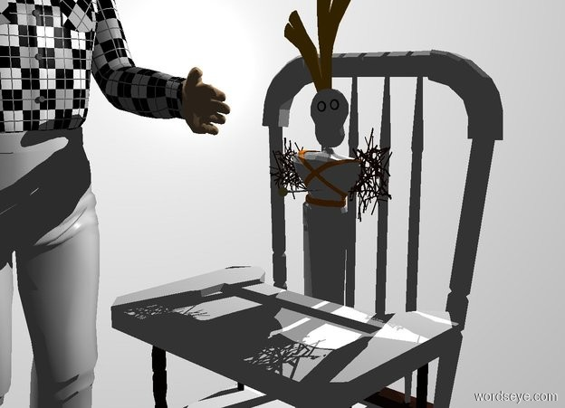 Input text: White backdrop. A white toy is on a white chair. A man is left of the chair. He is facing the chair. Camera light is black. A light is above and behind the chair.