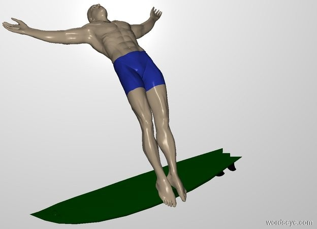 Input text: THE WHITE BACKDROP.  A man is -0.7 feet above the 1 foot tall surfboard. He is -6 feet in front and -5 feet east of it. He leans 30 degrees to the front. He faces east.