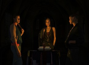 a shiny black table.a 1st woman is behind the table.a 2nd woman is left of the table.she is facing the table.a 3rd woman is right of the table.she is facing the table.a red candle is on the table.a orange light is 1 inches above the candle.dark backdrop.camera light is black.black sun.a book is behind the candle.fantasy sky.