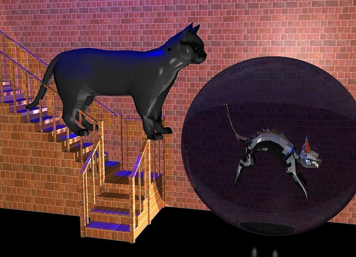 Input text: a [brick] stair.a 70 inch tall 1st cat is -80 inch above the stair.the 1st cat is -90 inch right of the stair.the 1st cat is facing east.a huge [brick] wall is behind the stair.a 110 inch tall and 110 inch wide and 10 inch deep clear white sphere is  20 inch right of the stair.a 2nd 50 inch tall shiny cat is -80 inch above the sphere.the 2nd cat is facing east.ground is black.two gainsboro lights are in front of the sphere.two  blue lights are 80 inch above the 1st cat.a black light is in front of the wall.camera light is gainsboro.