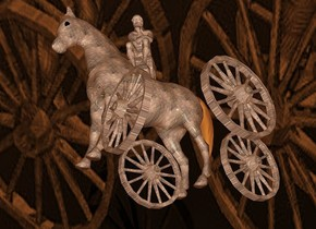 a 100 inch tall  horse is 200 inch above the ground.the horse is 15 inch wide [steel].a 1st 40 inch tall [steel] wheel is -118 inch above the horse.the 1st wheel is -70 inch in front of the horse.the 1st wheel is -10 inch left of the horse.a 2nd 40 inch tall [steel] wheel is 19 inch right of the 1st wheel.a 3rd 40 inch tall [steel] wheel is 20 inch behind the 2nd wheel.the 3rd wheel is -114 inch above the horse.a 4th 40 inch tall [steel] wheel is 15 inch left of the 3rd wheel..sky is 100 feet tall.sky is  4 inch wide [steel]..ground is visible.ground is clear.ground is 50 feet tall and 1000 feet wide and 100 feet deep.ambient light is  old gold.the horse is facing northeast.the 1st wheel is facing northeast.the 2nd wheel is facing northeast.the 3rd wheel is facing northwest.the 4th wheel is facing northeast.a 50 inch tall [steel] statue is -30 inch above the horse.the statue is facing north.