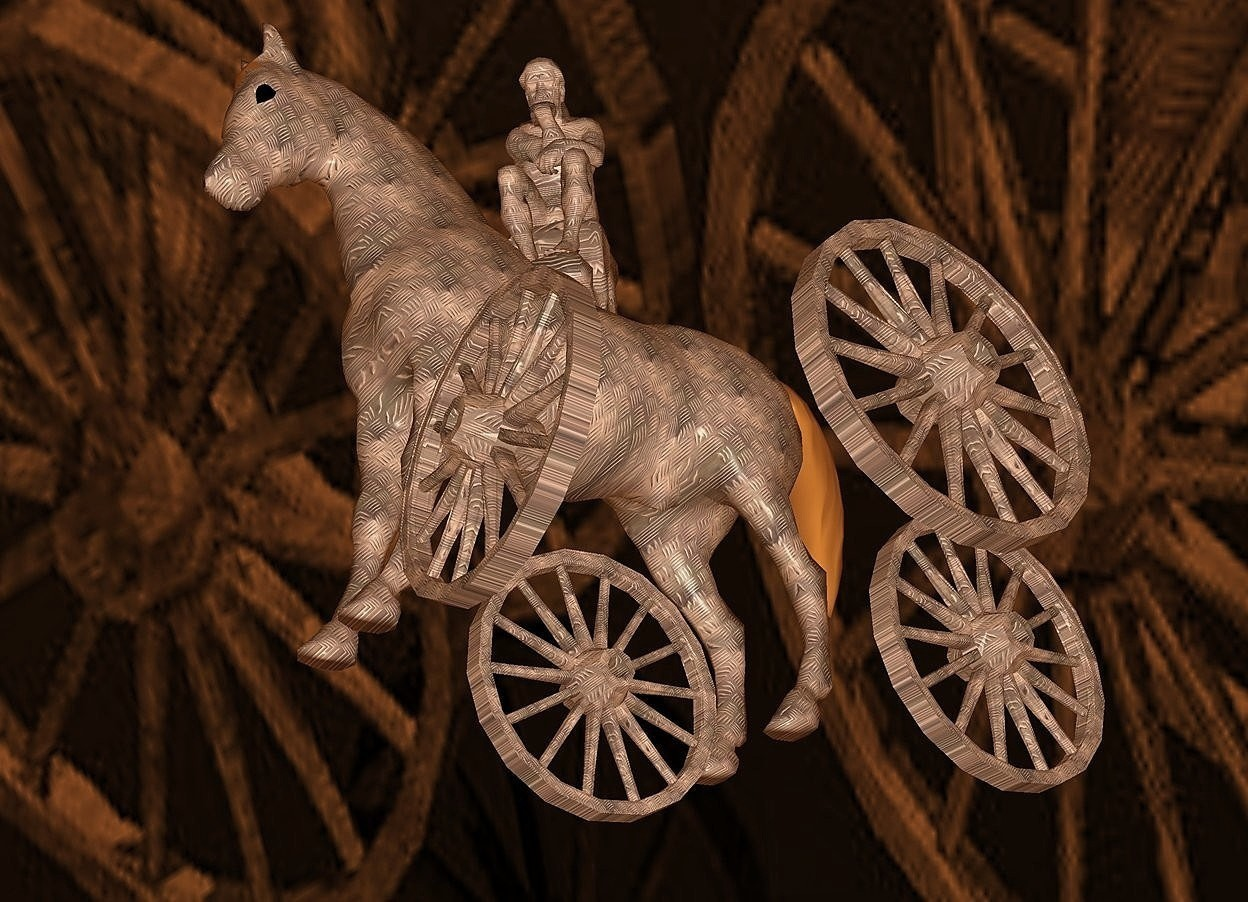 Input text: a 100 inch tall  horse is 200 inch above the ground.the horse is 15 inch wide [steel].a 1st 40 inch tall [steel] wheel is -118 inch above the horse.the 1st wheel is -70 inch in front of the horse.the 1st wheel is -10 inch left of the horse.a 2nd 40 inch tall [steel] wheel is 19 inch right of the 1st wheel.a 3rd 40 inch tall [steel] wheel is 20 inch behind the 2nd wheel.the 3rd wheel is -114 inch above the horse.a 4th 40 inch tall [steel] wheel is 15 inch left of the 3rd wheel..sky is 100 feet tall.sky is  4 inch wide [steel]..ground is visible.ground is clear.ground is 50 feet tall and 1000 feet wide and 100 feet deep.ambient light is  old gold.the horse is facing northeast.the 1st wheel is facing northeast.the 2nd wheel is facing northeast.the 3rd wheel is facing northwest.the 4th wheel is facing northeast.a 50 inch tall [steel] statue is -30 inch above the horse.the statue is facing north.