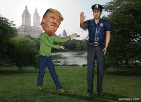 [Central Park] backdrop. Policeman. Trump.
