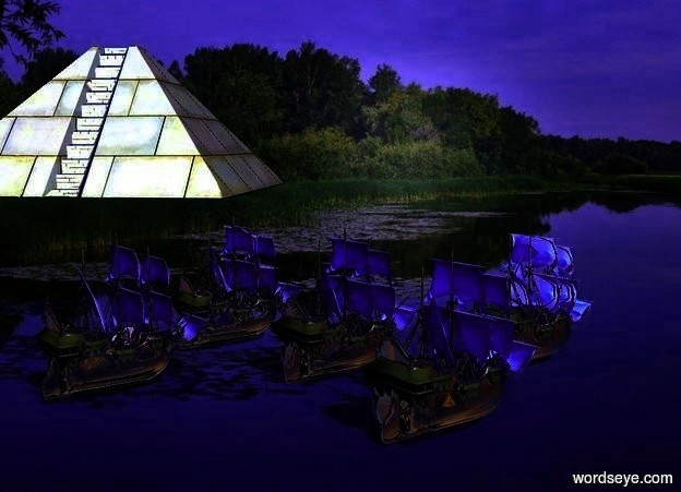 Input text: a silver fleet.a small pyramid is 30 feet right of the fleet.it is facing northwest.the pyramid is in front of the fleet.fantasy sky.the camera light is electric blue.the ambient light is midnight blue.