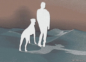 sky is shiny petrol blue.backdrop is shiny  .a 80 inch tall  black woman.the woman is facing north.a 50 inch tall black dog is 5 inch left of the woman.the dog is facing north.camera light is black.