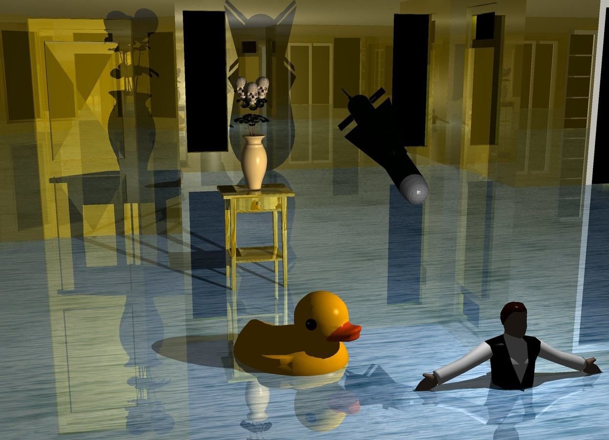 Input text: A tiny man is -20 feet above a dark gold house. The house is -2 foot above the ground. Ground is 50% shiny water. A duck is left of and -8 inch above and behind the man. It is facing southeast. Camera light is black. A light is above the man. The door of the house is gold. A 1 foot high gold table is 1 foot behind the duck. A small vase is on the table. A missile is 1.5 feet behind and 2 inch above the man. It is leaning front.