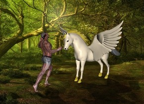 fantasy backdrop.a 7 feet tall pegasus.pegasus's mane is gold.a man is 1 feet in front of pegasus.he is facing pegasus.pegasus's hoof is gold.