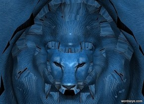 a 100 inch  tall  petrol blue lion.