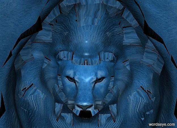 Input text: a 100 inch  tall  petrol blue lion.