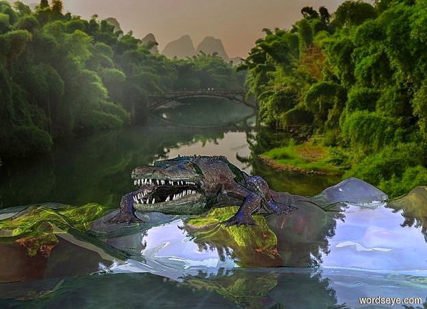 Input text: a river backdrop.ground is visible.ground is shiny..ground is 7060 inch wide  river.ground is 90 feet tall.a 180 inch tall shiny green crocodile is 700 inch above the ground.sun is gray.camera light is gray.a 1000 inch tall  blue illuminator.a  blue light is 10 inch above the crocodile.