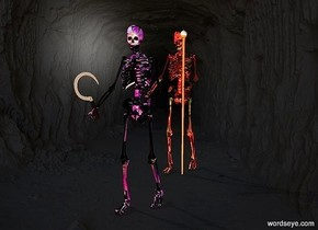 a 1st skeleton.the 1st skeleton is flower.a 2nd skeleton is 2 feet behind the 1st skeleton.the 2nd skeleton is flower.a sickle is -5 inches in front of the 1st skeleton.it is leaning 20 degrees to the east.the sickle is 3 feet above the ground.the sickle is -8 inches left of the 1st skeleton.the sickle's cutting blade is gold.a staff is -6.5 inches right of the 2nd skeleton.the backdrop is dark.pale shadow plane.the camera light is 70% dark.a red light is 1 feet in front of the 1st skeleton.the staff's diamond is yellow.the staff is -12 inches in front of the 2nd skeleton.a lime light is 6 inches in front of the 2nd skeleton.