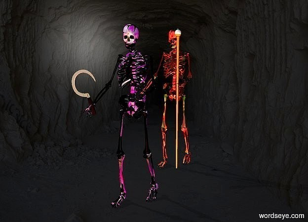 Input text: a 1st skeleton.the 1st skeleton is flower.a 2nd skeleton is 2 feet behind the 1st skeleton.the 2nd skeleton is flower.a sickle is -5 inches in front of the 1st skeleton.it is leaning 20 degrees to the east.the sickle is 3 feet above the ground.the sickle is -8 inches left of the 1st skeleton.the sickle's cutting blade is gold.a staff is -6.5 inches right of the 2nd skeleton.the backdrop is dark.pale shadow plane.the camera light is 70% dark.a red light is 1 feet in front of the 1st skeleton.the staff's diamond is yellow.the staff is -12 inches in front of the 2nd skeleton.a lime light is 6 inches in front of the 2nd skeleton.