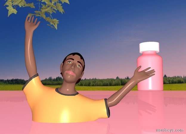 Input text: a dull pink ocean. a  boy is -3 feet above the ocean. an ivy is above and -1 foot left of the boy. sun is black. ambient light is pink. a 100 foot tall wildness bottle is behind and above the ocean. the bottle is 10 foot right of the boy. a 20 foot tall and 45 foot wide and 45 foot deep circle is -10 feet above the bottle.