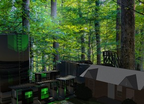 A house is -5 feet right of and -30 feet above a [fun] factory. Camera light is black. 2 green lights are in front of the house.