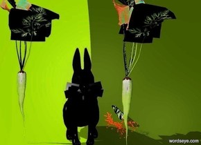 a black rabbit. backdrop is clear. 2 carrots are right of the rabbit. a carrot is left of the rabbit.