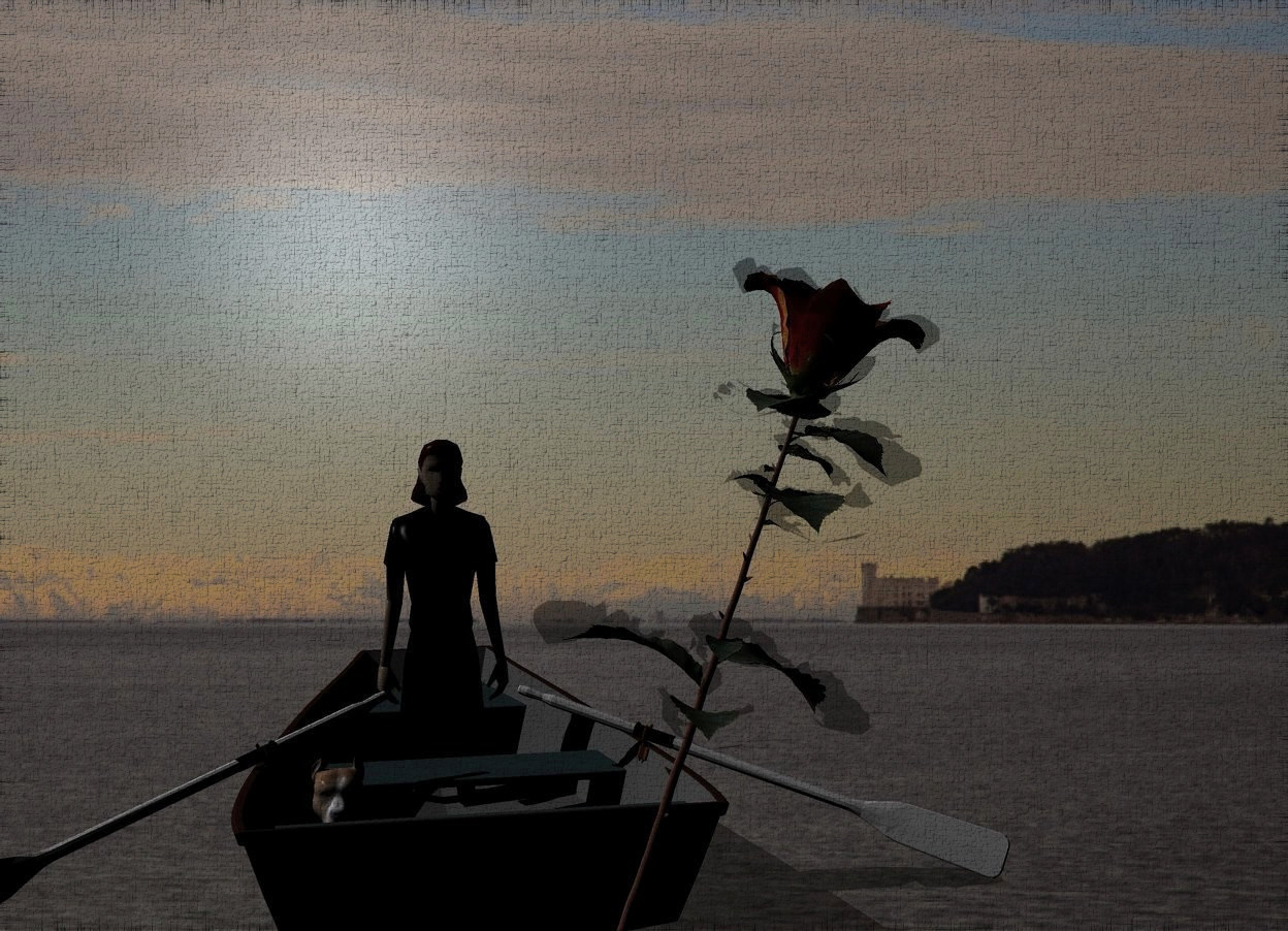 Input text: Sea backdrop. A dark brown boat. Camera light is black. Ambient light is black. A 4 feet high woman is -2 feet above and -4 feet in front of the boat. A large rose is -1.15 foot above and 9 feet in front of the woman. It is leaning left. A dog is left of and in front of the woman.