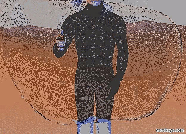 Input text: sky is 70% dim gainsboro.ground is visible.a 100 inch tall white man.the hand of the man is white.a 120 inch tall and 80 inch wide and 40 inch deep bubble is -50 inch in front of the man.the bubble is -74 inch above the man.the bubble is upside down.a  blue light is 100 inch in front of the man.a 1000 inch tall orange illuminator.