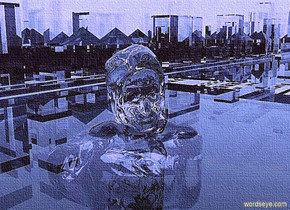 a 2000 inch tall clear white city block.sky is white.ground is clear.sun is aquamarine.a 3000 inch tall clear white woman is -4000 inch above the city block.the woman is -4000 inch east of the city block.the woman is facing northeast.