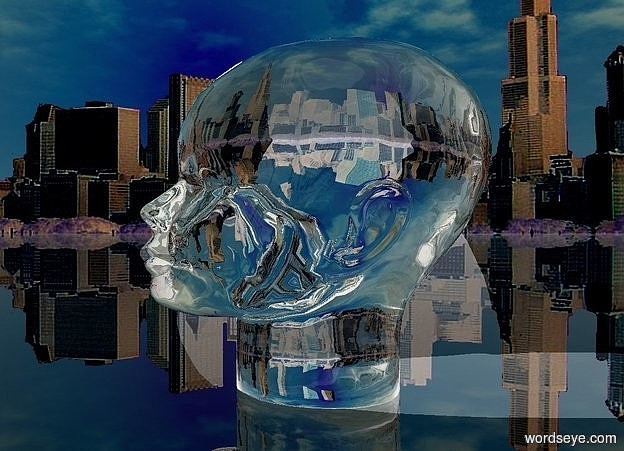 Input text: a city is in the background.ground is shiny.a 100 inch tall an 100 inch wide and 100 inch deep clear white head.the head is facing west.