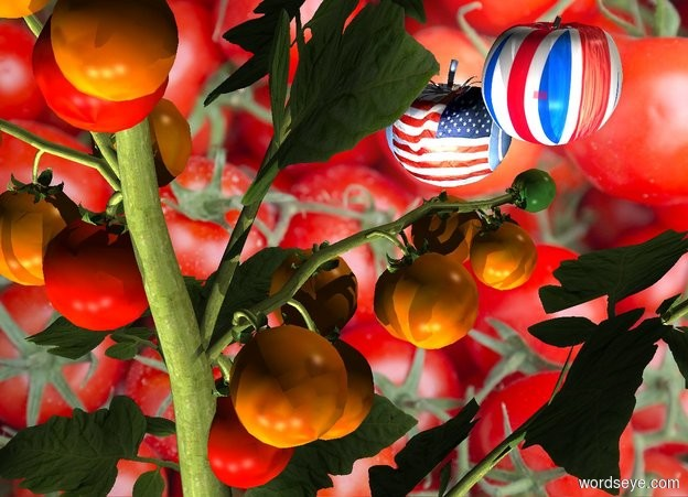 Input text: A tomato. [Tomato] backdrop. The sun is cream. Camera light is silver. 3 lights are in front of the tomato. The azimuth of the sun is 50 degrees. A [uk] tomato is behind and -1 foot above the tomato. A [flag] tomato is -1 inch left of and -5 inch above the tomato. It is facing west.