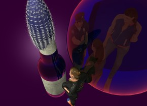 A blue cactus fits in a blue bottle. Purple backdrop. A clear blue sphere is 0.5 inch right of the bottle. The sky is crimson. A very tiny man is below and -4 inch left of the sphere. He is leaning back. A very tiny woman is -2 inch in front of and left of the man. She is facing the bottle. A very tiny woman is -3.5 inch in front of the man. She is facing the man. A very tiny woman is 1 inch right of the man. She is facing the woman. The label of the bottle is [sign].