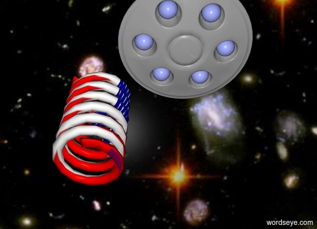 Input text: the sky backdrop. The [flag] spring. The ufo is 3 inches to the right of the spring. It is 5 inches wide.