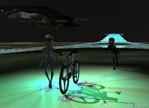 A [newspaper] bicycle is right of an alien. Camera light is black. A large black cylinder is 3 feet above the alien. A green light is -3 feet above the cylinder. The sky is black. The ground is dark gravel. 3 cyan lights are behind the alien. A 100 feet wide and 10 feet high shiny [stone] building is 10 feet behind the alien. A large shiny black spaceship is 5 feet above and -30 feet left of the building. An alien is 6 feet behind and right of the bicycle. The alien is facing the alien. A dim red light is above the alien.