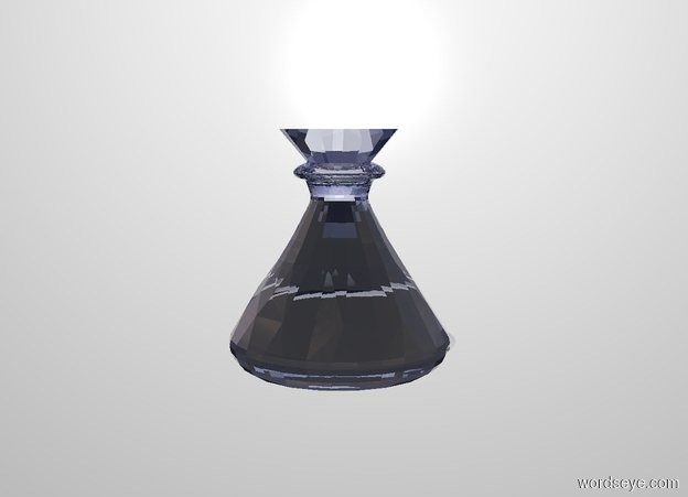 Input text: a 1.4 inch wide and 1.4 inch deep and 1.5 inch tall cobalt blue clear flask. white backdrop. a .2 inch tall and 1.3 inch wide and 1.3 inch deep cone fits in the flask