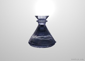 a 1.4 inch wide and 1.4 inch deep and 1.5 inch tall cobalt blue clear flask. white backdrop. a .2 inch tall and 1.3 inch wide and 1.3 inch deep clear cobalt blue cone fits in the flask