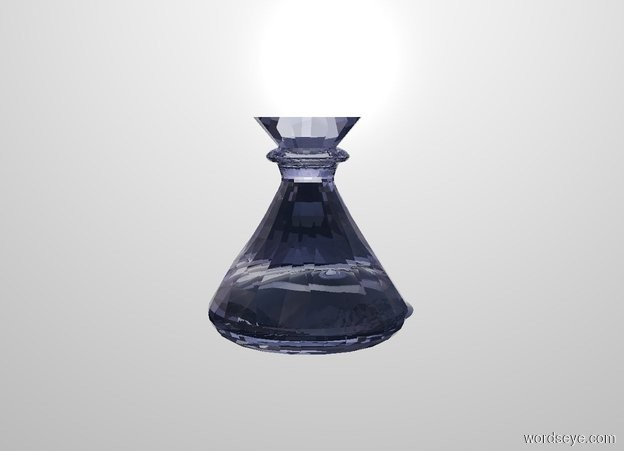 Input text: a 1.4 inch wide and 1.4 inch deep and 1.5 inch tall cobalt blue clear flask. white backdrop. a .2 inch tall and 1.3 inch wide and 1.3 inch deep clear cobalt blue cone fits in the flask