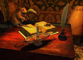 a table is on a large rug. the rug is 14 feet wide [texture]. a book is on the table. it faces southwest. a squirrel is -.3 feet in front of and -.6 feet left of the book.  it faces the book. a large inkwell is -.5 feet right of and -.3 inch behind the book. 1st beige feather is -.38 feet behind and -1.05 feet left of and -.52 feet above the squirrel. it faces northwest. it leans  75 degrees to the right. a candle is -.1 feet right of and .2 inch in front of the inkwell. it faces northeast. a orange point light is 1 inch above the candle. the sun is black. the camera light is black. the page of the book is page. a 3 feet tall and .8 feet wide tube is 2 feet above the inkwell. a curry yellow light is -3 feet above the tube. the flame of the candle is shiny gold. the trim of the candle is shiny [metal]. a [texture] wall is 3 feet left of the table. it faces left. a [stone] vase is behind and 2 feet left of the table. it faces left. 2nd feather is -.18 feet above and -.2 feet left  of the inkwell. it faces southwest. it leans 10 degrees to the southeast. a snail is -.14 inch above and -.64 feet left of and -.5 feet behind the book. it faces the squirrel