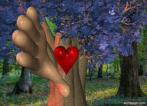 a 100 inch tall baobab tree.a 15 inch tall heart is -75 inch above the baobab tree.the heart is -40 inch in front of the baobab tree..a  40 inch tall hand is -60 inch left of the baobab tree.the  hand is facing east.the  hand leans 80 degrees to right.the hand is -19 inch above the heart.the hand is -20 inch in front of the baobab tree.the leaf of the baobab tree is delft blue.a 200 inch tall red illuminator.