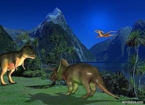 island backdrop.a 1st dinosaur.a rust light is 1 feet in front of the 1st dinosaur.a 2nd dinosaur is 8 feet above the 1st dinosaur.it is 10 feet left of the 1st dinosaur.it is facing southeast.a green light is right of the 1st dinosaur.a 3rd dinosaur is 5 feet in front of the 1st dinosaur.it is facing the 1st dinosaur.electric blue sun.