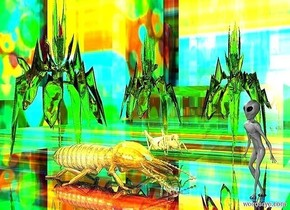 a shiny [abstract] city block.a alien is -460.5 feet above the city block.he is facing northeast.a 1st shiny orange monster is 7 feet right of the alien.a 2nd shiny orange monster is 5 feet in front of the 1st monster.it is facing northwest.a 3rd shiny orange monster is 1 feet left of the 2nd monster.it is facing north.a red light is 1 feet above the 2nd monster.a 2 feet tall shiny termite is 2 feet right of the alien.it is facing the alien.a 2 feet tall shiny grasshopper is 1 feet in front of the termite.it is facing the alien.