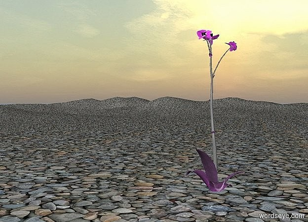 Input text: ground is [stone].a 100 inch tall  flower is -5 inch above the ground.the flower is violet.the stalk of the flower is gray.