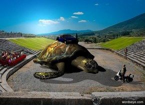 A small car is -1 foot above a giant turtle. The sun is silver. Camera light is black. A light is left of and above the car. A small motorcycle is -2 feet in front of and -3 feet right of the turtle. It is facing the turtle. A small man is -2 feet above the motorcycle. He is facing the turtle. A small audience is -4 feet left of and behind the turtle. A ball is 20 feet right of the turtle. The audience is facing the ball. Ambient light is black. A yellow light is 20 feet above and 10 feet behind the audience. A small dark man is 18 feet right of and behind the turtle. He is facing the man.
