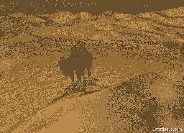 Input text:  a 150 inch tall and 1000 inch wide and 1000 inch deep dune.a 1st 200 inch tall camel is -450 inch  behind the dune.the 1st camel is -100 inch left of the dune.sky is black.a 500 inch tall 60% dim orange illuminator is above the camel.