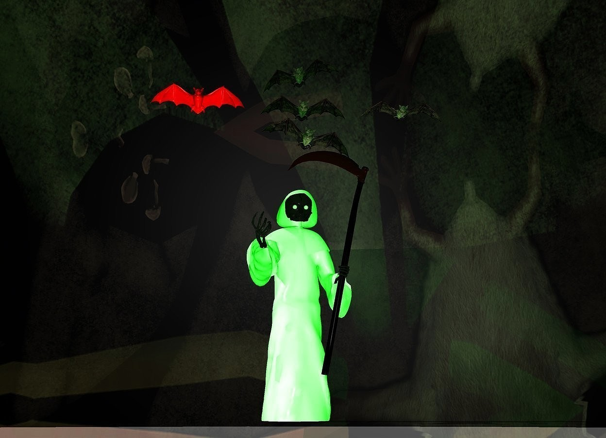 Input text: clear church backdrop.a grim reaper.a large bat is above the grim reaper.ambient light is lime.