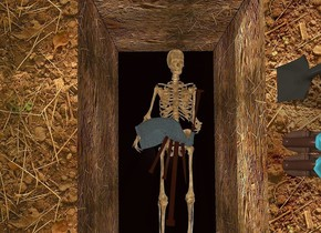 a dull skeleton leans 90 degrees to the back. a 3.5 foot tall bagpipe is -.6 foot above and -1.8 foot right of the skeleton. the bagpipe leans 90 degrees to the front. the bagpipe's bag is [texture]. a 1st 6 foot tall and 3 foot wide [dirt] cube is .2 foot behind the skeleton. a 2nd 6 foot tall and 6 foot deep [dirt] cube is right of and in front of the 1st cube. a 3rd 6 foot tall and 6 foot deep [dirt] cube is left of and in front of the 1st cube. ground is shiny dark brown. camera light is black. ambient light is dim tan. a person is -.1 foot above and -1.5 foot left of the 2nd cube. he faces left. a dull shovel is behind and -.2 foot left of the person. the shovel faces left. a dim powder blue light is above the bagpipe.