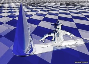 a shiny yellow light cone.four orange lights are above the cone.ground is 100 inch wide blue grid.camera light is black.a 10 inch tall white man is 1 inch right of the cone.the man is -3 inch above the ground.a 500 inch tall black illuminator is in front of the man.
