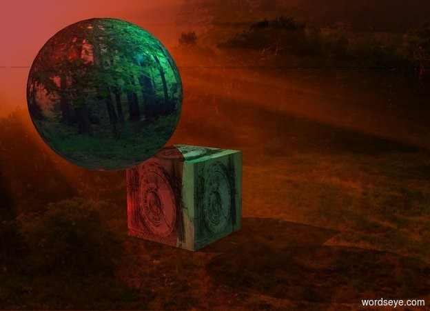Input text: A [climate] earth. The sun is maroon. Camera light is black. A cyan light is -2 inch right of and -6 inch above the earth. A large [calendar] cube is behind and -5 feet above the earth. A red light is left of and in front of the cube. A red light is above and in front of the earth. Azimuth of the sun is 240 degrees.