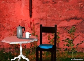 wall backdrop.a table.a chair is right of the table.a coffeepot is on the table.it is facing left.a plant is right of the chair.the sun is sunset orange.a cup is right of the coffeepot.it is facing left.a small cushion is on the chair.it is face down.the cushion is leaning 40 degrees to the south.
