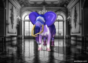 The neon elephant is in the museum