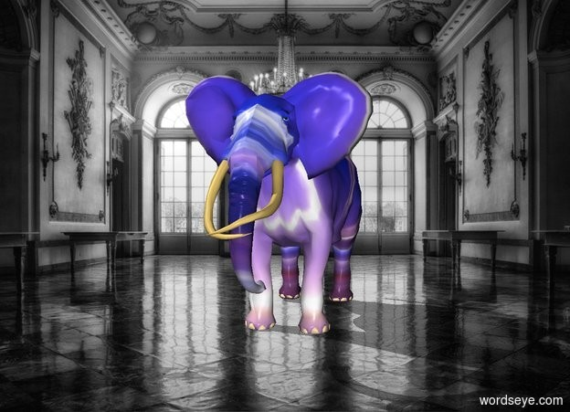 Input text: The neon elephant is in the museum
